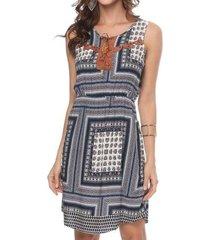 vestido bon estampa azul marinho