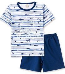 pijama pingo lelê manga curta com bermuda tubarão marinho brilha no escuro