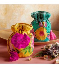 sundance catalog women's embroidered velvet jewelry pouch in yellow