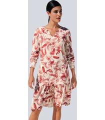 jurk alba moda offwhite::rood