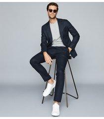 reiss brosnon - linen slim-fit blazer in navy, mens, size 46