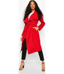 belted waterfall coat, red