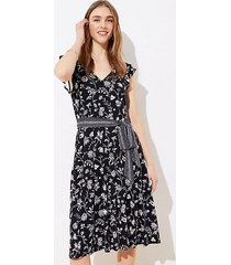loft petite rainforest cutout button back midi dress