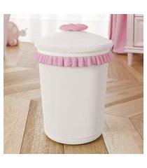 lixeira bebe branco/rosa ursinha clássica grão de gente rosa