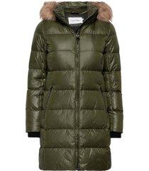 essential real down coat gevoerde lange jas groen calvin klein