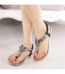 sandalias zapatos dedo pie clip bohemia cristal -negro