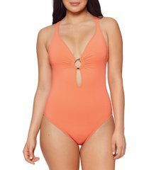 bleu by rod beattie ring me up plunge one-piece swimsuit, size 4 in coral chic at nordstrom