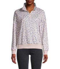 stellah women's animal-print half-zip sweatshirt - pink multi - size m