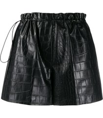 nude high-waist paperbag shorts - black