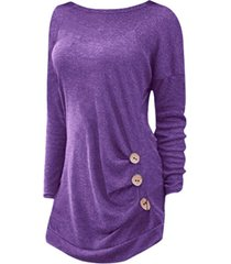 drop shoulder ruched buttoned long sleeve tunic tee