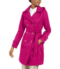 anne klein double-breasted hooded water-resistant trench coat