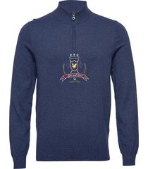 crest 1/4 zip knitted jumper knitwear half zip jumpers blå lyle & scott