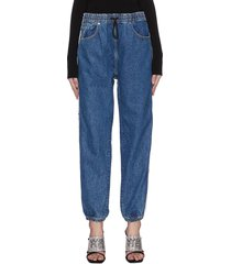 'deep blue' logo tape drawstring jeans