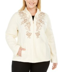 alfred dunner plus size first frost embroidered zip-front fleece jacket