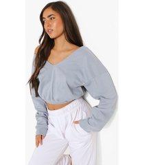 korte sweater met v-hals, pastel blue
