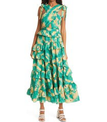 women's ulla johnson zahra tie shoulder cutout ruffle maxi dress, size 6 - green
