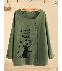camicetta a maniche lunghe plus con bottone stampa farfalla gatto