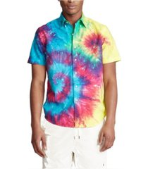 polo ralph lauren men's classic fit tie-dye shirt