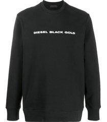 diesel black gold logo-print crew neck sweatshirt