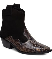 western strap shoes boots ankle boots ankle boot - heel brun apair