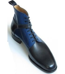 new handmade men wrap belted boot, mens leather boots, mens black and blue boots