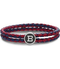 "ben sherman braided leather double stranded station ""b"" men's bracelet"
