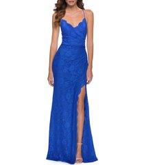 women's la femme strappy back lace gown, size 8regular - blue