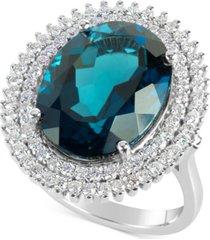 blue topaz (12 ct. t.w.) and diamond (4/5 ct. t.w.) ring in 14k white gold
