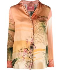 f.r.s for restless sleepers silk foliage print shirt - pink