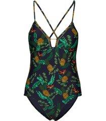 ava cross back vee swimsuit baddräkt badkläder multi/mönstrad superdry