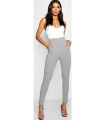 basic crêpe skinny fit stretch broek, grijs