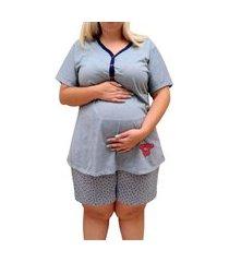 short doll plus size linda gestante pós parto e amamentação com botões