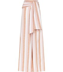 adriana degreas porto tie waist wide leg trousers - pink