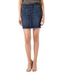 women's liverpool cat eye denim miniskirt, size 14 - blue