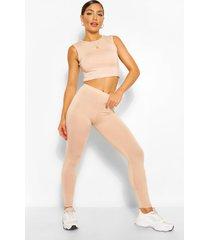 mouwloze crop top en leggings set, blush