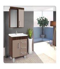 conjunto banheiro 60cm castaine e taupe lilies móveis