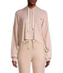 lea & viola women's cropped marled hoodie - pink - size s