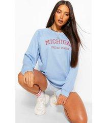 lang oversized gewassen trui met 'michigan'-slogan, blauw