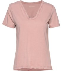 atal bis tunisien sans boutons coton t-shirts & tops short-sleeved rosa zadig & voltaire