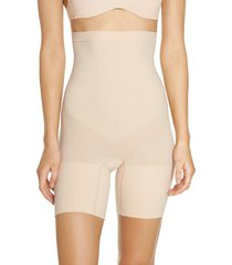 women's spanx higher power mid-thigh shaping shorts, size x-large - beige