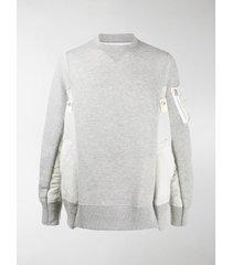 sacai oversized patchwork sweatshirt