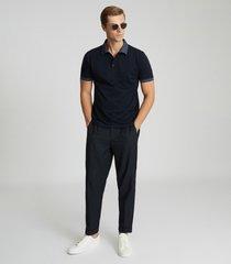 reiss filipo - contrast collar polo shirt in navy, mens, size xxl