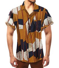 camisa bohemia multicolor summer beach holiday hombre