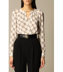 elisabetta franchi body elisabetta franchi bodysuit shirt with all-over horsebit