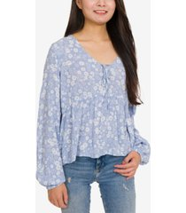 hippie rose juniors' printed tie-front blouse