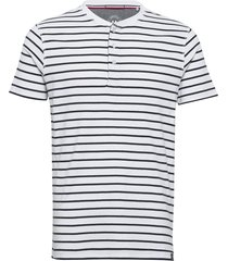 striped rib granddad s/s t-shirts short-sleeved vit lindbergh