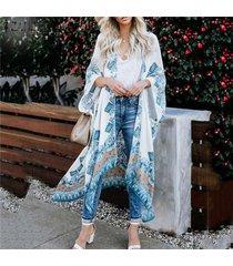 3/4 zanzea verano de las mujeres floral de vacaciones de manga larga tops escudo kimono outwear cardigan -blanco