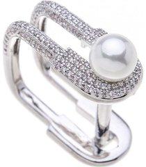 anillo cristal austriaco perla baño de rodio sara k