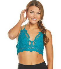 free people women's adella bralette - dark turquoise - x-small cotton