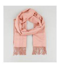 cachecol feminino com franjas rosê